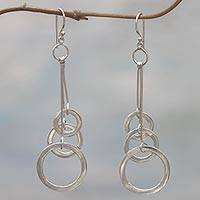 Sterling silver dangle earrings, 'Three Circles' - Sterling Silver Circular Dangle Earrings from Indonesia