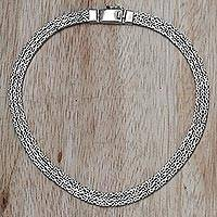 Sterling silver chain necklace, 'Borobudur Links'