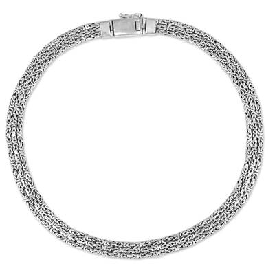 Sterling Silver Borobudur Chain Necklace from Indonesia
