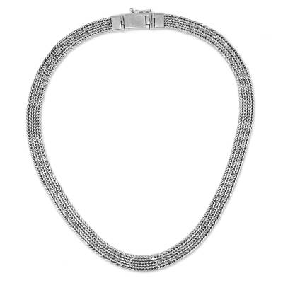 Sterling silver chain necklace, 'Flat Foxtail' - Handcrafted Sterling Silver Foxtail Chain Necklace from Bali