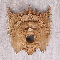 Wood mask, 'Great Boar' - Hand Carved Acacia Wood Barong Bangkal Mask