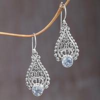 Blue topaz dangle earrings, 'Happy Tears' - Handmade Balinese Sterling Silver Blue Topaz Dangle Earrings