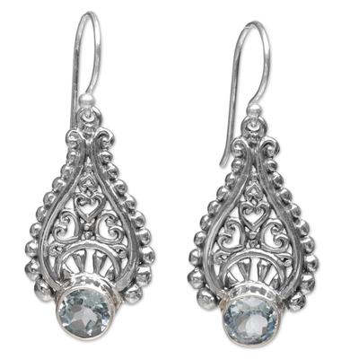 Handmade Balinese Sterling Silver Blue Topaz Dangle Earrings