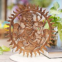 Wood relief panel, 'Solar Ganesha' - Suar Wood Hand Carved Relief Wall Panel of Ganesha