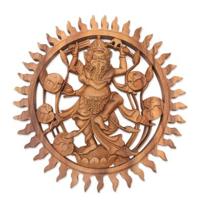 Wood relief panel, 'Solar Ganesha' - Suar Wood Hand Carved Relief Wall Panel of Ganesha