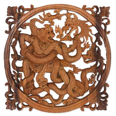 Wood relief panel, 'Hanoman Battle' - Suar Wood Relief Wall Panel Hanoman and Dragon Battle