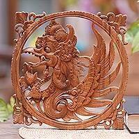 Wood relief panel, 'Winged God' - Suar Wood Garuda Relief Wall Panel