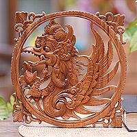 Wood relief panel, 'Winged God' - Suar Wood Garuda Relief Wall Panel