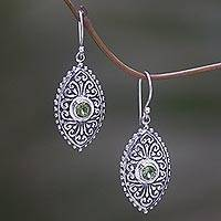 Peridot dangle earrings, 'Wonderful Bali' - Sterling Silver and Peridot Dangle Earrings from Bali