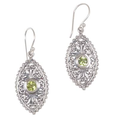 Sterling Silver and Peridot Dangle Earrings from Bali