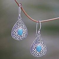 Turquoise dangle earrings, 'Turquoise Lake' - Sterling Silver Turquoise Dangle Earrings