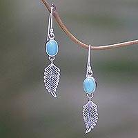 Turquoise dangle earrings, 'Passionate Hope' - Artisan Crafted Sterling Silver and Turquoise Earrings