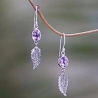 Amethyst dangle earrings, 'Passionate Hope' - Handmade Sterling Silver and Amethyst Dangle Earrings