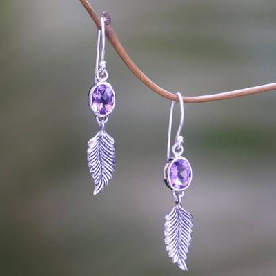Novica Amethyst earrings, Shy Violets - Sterling Silver and Amethyst Earrings