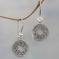 Sterling silver dangle earrings, 'Jepun Coins'