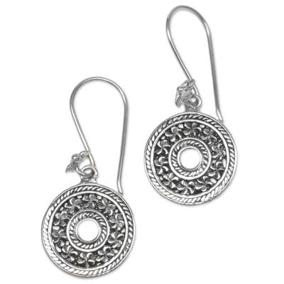 Sterling silver dangle earrings, 'Jepun Coins' - Hand Made Sterling Silver Dangle Earrings Floral Indonesia