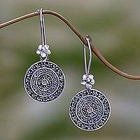 Sterling silver dangle earrings, 'Frangipani Altar' - Hand Made Sterling Silver Dangle Earrings Cicular Indonesia