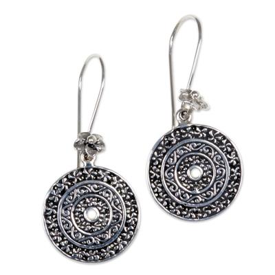 Sterling silver dangle earrings, 'Frangipani Altar' - Hand Made Sterling Silver Dangle Earrings Cicular Indonesia