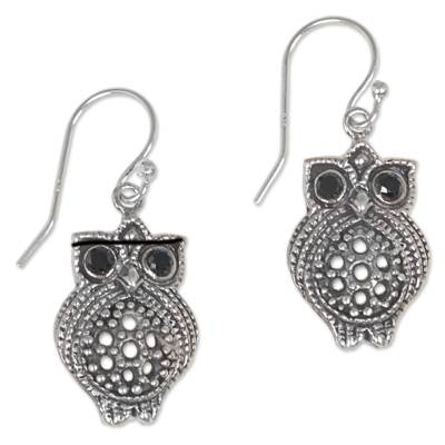 Sterling Silver Onyx Owl Dangle Earrings from Indonesia