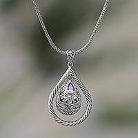 Amethyst pendant necklace, 'Floral Perception in Purple' - Sterling Silver Amethyst Floral Pendant Necklace Indonesia