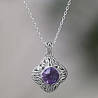 Amethyst pendant necklace, 'Swirling Purple' - Sterling Silver and Amethyst Pendant Necklace Indonesia