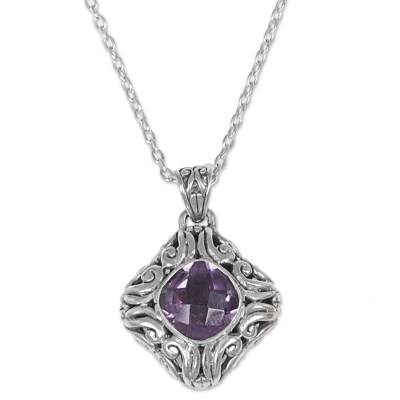 Amethyst pendant necklace, 'Swirling Purple' - Sterling Silver and Amethyst Pendant Necklace Indonesia