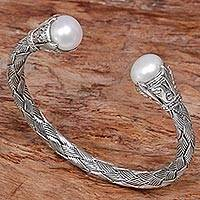 Cultured pearl cuff bracelet, 'Classic Story' - Sterling Silver and Cultured Pearl Cuff Bracelet