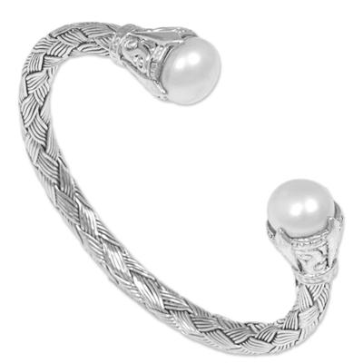 Cultured pearl cuff bracelet, 'Classic Story' - Sterling Silver and Cultured Pearl Cuff Bracelet
