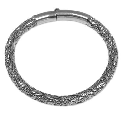 Sterling silver bangle bracelet, 'Stay Together' - Sterling Silver Bangle Bracelet from Indonesia