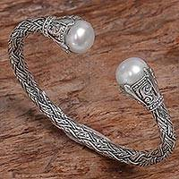 Cultured pearl cuff bracelet, 'Intricacy' - Sterling Silver and Cultured Pearl Cuff Bracelet