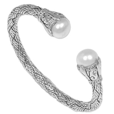 Cultured pearl cuff bracelet, 'Intricacy' - Sterling Silver and Cultured Pearl Cuff Bracelet