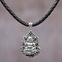 Sterling silver pendant necklace, 'Pu-Tai Buddha' - Sterling Silver Leather Buddha Pendant Necklace Indonesia