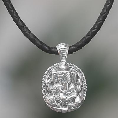 Novica Sterling silver pendant necklace, Ganesha in Meditation