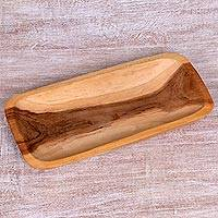 Teakwood serving tray, 'Blessed Forest' - Hand Carved Teakwood Serving Tray from Indonesia