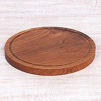 Teakwood cutting board, 'Chef's Anvil' - Hand Carved Round Teakwood Cutting Board from Indonesia