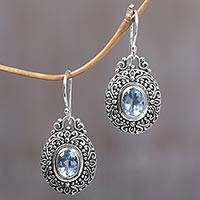 Blue topaz dangle earrings, 'Pale Blue Fables' - Blue Topaz and Sterling Silver Indonesian Dangle Earrings