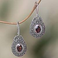 Garnet dangle earrings, 'Crimson Fables'