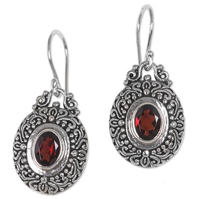 Garnet dangle earrings, 'Crimson Fables' - Sterling Silver Garnet Dangle Earrings Spiral Indonesia