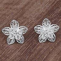 Sterling silver filigree button earrings, 'Enticing Blossoms' - Sterling Silver Floral Filigree Button Earrings Indonesia