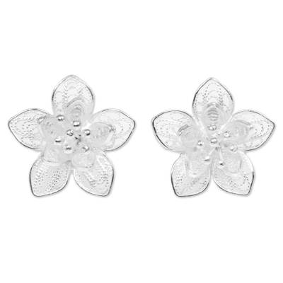Sterling Silver Floral Filigree Button Earrings Indonesia