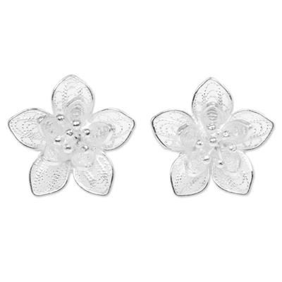 Sterling silver filigree button earrings, 'Enticing Blossoms' - Sterling Silver Floral Filigree Button Earrings Indonesia