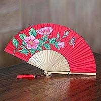 Silk and wood fan, 'Empress Garden in Crimson' - Silk and Wood Fan with Floral Motifs on Crimson Indonesia