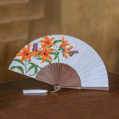 Silk and mahogany wood fan, 'Empress Garden in Eggshell' - Silk and Wood Fan Floral Motifs on Eggshell from Indonesia