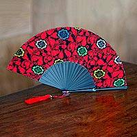 Cotton and mahogany fan, 'Candy Apple Nirvana' - Cotton Wood Fan Floral Motifs in Candy Apple from Indonesia