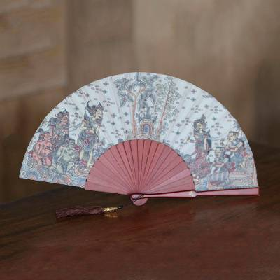 Silk and mahogany wood fan, 'Rama Sita' - Silk and Wood Fan with Hindu Motifs in Wheat and Crimson