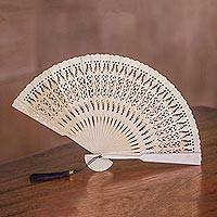 Wood fan, 'Serenity Bloom in Natural' - Hand Made Wood Fan in Natural with Pouch from Indonesia