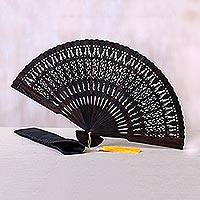 Ebony wood fan, 'Serenity Bloom in Brown' - Hand Made Ebony Wood Fan with Pouch from Indonesia