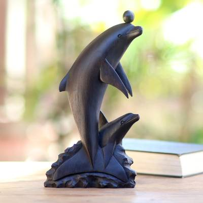 Wood statuette, 'Dancing Dolphin' - Balinese Hand Carved Wood Statuette of Dolphins in Black