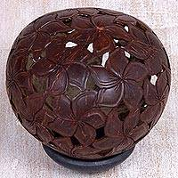 Coconut shell sculpture, 'Jepun Haven' - Coconut Shell Sculpture on Stand with Jepun Flowers Carving