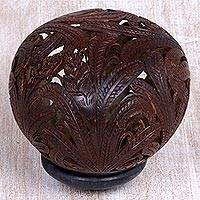 Coconut shell sculpture, 'Fern Field' - Coconut Shell Sculpture on Stand with Fern Leaves Carving